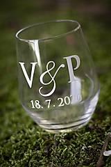 Papiernictvo - Inicály- nálepka na svadobný pohár - 11825024_