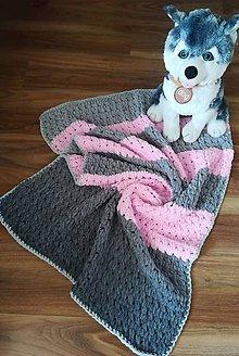 Úžitkový textil - Deka ružovo - šedá - 11821914_