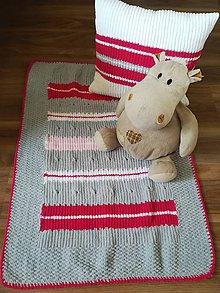 Úžitkový textil - Pletená deka a vankúš - 11822008_