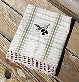 """Úžitkový textil - Utierka """"Olivy"""" s háčkovanou krajkou - 11824241_"""