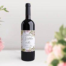 Papiernictvo - Svadobné etikety na fľaše Fleur - 11826567_