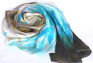 Šatky - Modré tulipány. Hedvábný šátek. - 11827286_