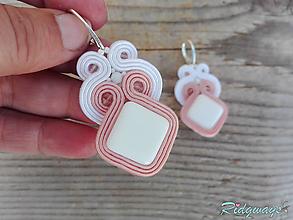 Náušnice - White&Light salmon pink...soutache - 11826475_