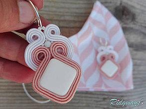 Rúška - Sada rúško + náušnice (White&Light salmon pink...soutache) - 11826513_