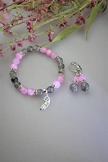 Sady šperkov - luxusný náramok a náušnice dymový krištál a ružový jadeit s anjelským krídlom zo striebra - 11829660_