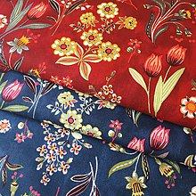 Textil - tmavočervené kvety Nostalgia, 100 % bavlna Francúzsko, šírka 150 cm - 11825693_