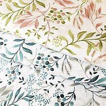 Textil - modré akvarelové listy, zmesové plátno, šírka 140 cm - 11826004_
