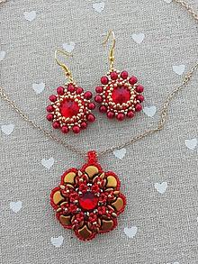 Sady šperkov - Červeno-zlatý set - 11827775_