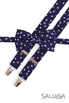 Doplnky - Pánsky tmavo modrý motýlik a traky - vzorovaný - navy blue - 11826423_