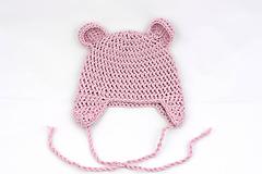 Detské čiapky - Ružová ušianka macko EXTRA FINE - 11827417_