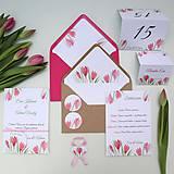 Tulipány ružové - svadobné oznámenie
