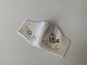 Rúška - Maľované SMOTANOVOBIELE ľanové rúško (3-vrstvové) (s maľovaným vtáčikom a ornamentami v kombinácii s výšivkou) - 11825999_