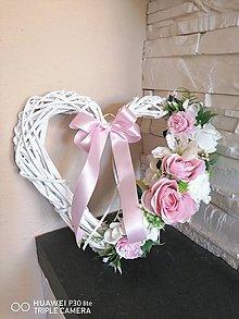 Dekorácie - Srdce bielo ružové s mašlou 30cm - 11825748_