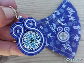 Rúška - Sada rúško + náušnice (White/Blue - Folk...soutache) - 11830909_