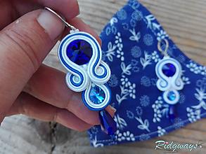 Rúška - Sada rúško + náušnice (White - Blue...soutache) - 11830959_