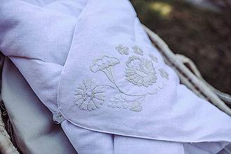 Textil - Vyšívaná ľanová zavinovačka biela - 11831493_