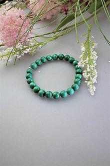 Náramky - Pravý prírodný malachit náramok (bledší malachit) - 11830547_