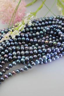 Minerály - perly tmavé 6-7mm , celá šnúra - 11834639_