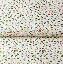 Textil - zelené kvietky, 100 % bavlna Francúzsko, šírka 140 cm, cena za 0,5 m - 11833662_