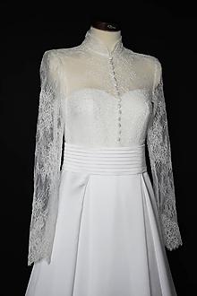 Šaty - Svadobné šaty Grace Kelly vo vintage štýle so stojačikom a dlhým rukávom - 11833169_