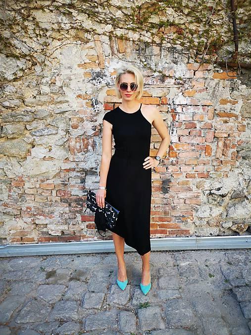 Šaty - Asymetrické šaty (čierne) - 11831364_