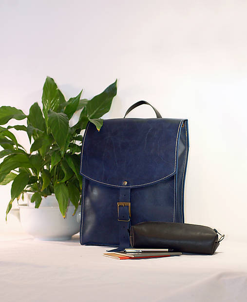Kožený batoh urban - modrý