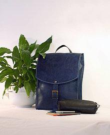 Batohy - Kožený batoh urban - modrý - 11830619_