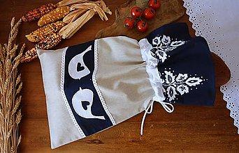 Úžitkový textil - Vrecko na chlieb - modrotlač - 11834003_