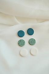 Náušnice - Set 3x napichovacie náušnice modré - 11832013_