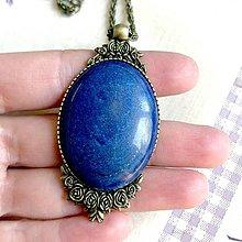 Náhrdelníky - Lapis Lazuli & Bronze Necklace / Výrazný náhrdelník s lazuritom v bronzovom prevedení  - 11836000_