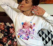 Mikiny - Kvety a ja/ JN biela mikina - 11837517_
