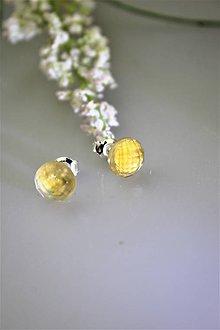 Náušnice - citrín náušnice napichovacie strieborné - 11839841_
