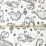 Textil - látka omaľovánka Dino; 100 % bavlna Francúzsko, šírka 160 cm, cena za 0,5 m - 11835309_