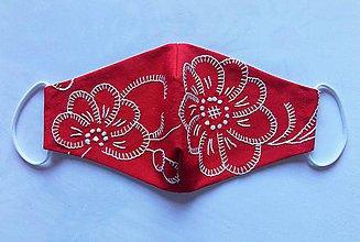 Rúška - Rúško pre dámy Červené vyšívané folk II - 11836458_
