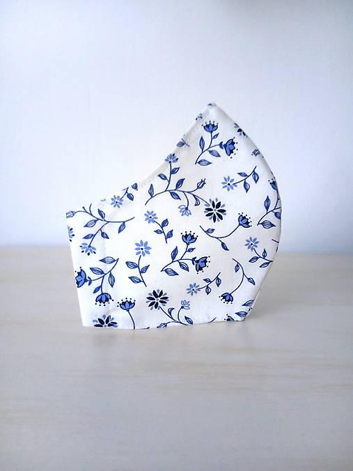 Dizajnové rúško modrý folk kvet