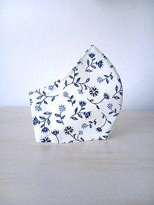Rúška - Dizajnové rúško modrý folk kvet - 11836844_