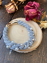 Náramky - Šedý náramek s perličkami - 11839323_