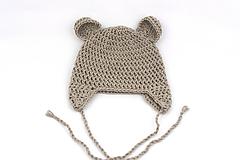 Detské čiapky - Béžová ušianka macko EXTRA FINE - 11837280_
