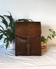Batohy - Kožený batoh - hnedý - 11836406_