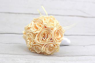 Kytice pre nevestu - Saténová kytica svadobná krémová ruže - 11836968_