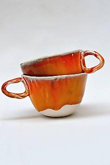 Nádoby - šálka oranžovo červená - 11836598_