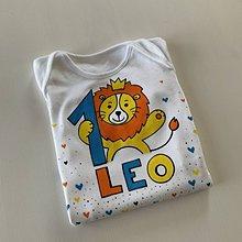 Detské oblečenie - Maľované body k 1. narodeninám (s levíkom a menom) - 11839351_