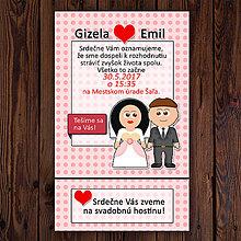 Papiernictvo - Svadobné oznámenie a pozvánka k svadobnému stolu simple 4 (puntíky) - 11837953_