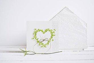 Papiernictvo - Svadobný pozdrav - srdiečko zo štvorlístkov I - 11843550_