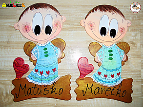 Tabuľky - Menovka - anjelik chlapec - 11843555_
