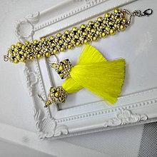 Sady šperkov - Žlté náušnice a náramok - 11842936_