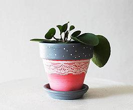 Nádoby - Ťažká romantika (mini kvetináčik z terakoty) - 11843105_
