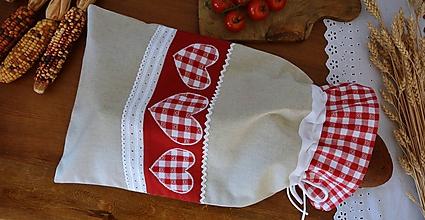 Úžitkový textil - Vrecko na chlieb - červené srdiečka - 11841182_
