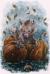 Obrazy - Hebučká novembrová tekvicová líštička Art Print - 11844460_