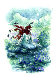 Obrazy - Víly zapletajúc vlasy víle, tancujúce na lúke Art Print - 11844181_
